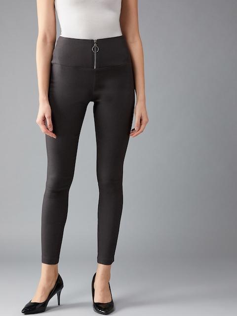 DOLCE CRUDO Women Grey Solid Slim-Fit Treggings