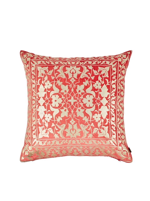 Living Essence Red & Gold-Toned Set of Single Ethnic Motifs Square Cushion Covers