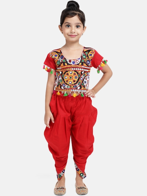 BownBee Girls Red Embellished Top with Dhoti Pants