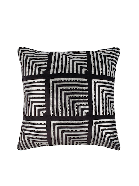 Living Essence Black & White Single Geometric Square Cushion Cover