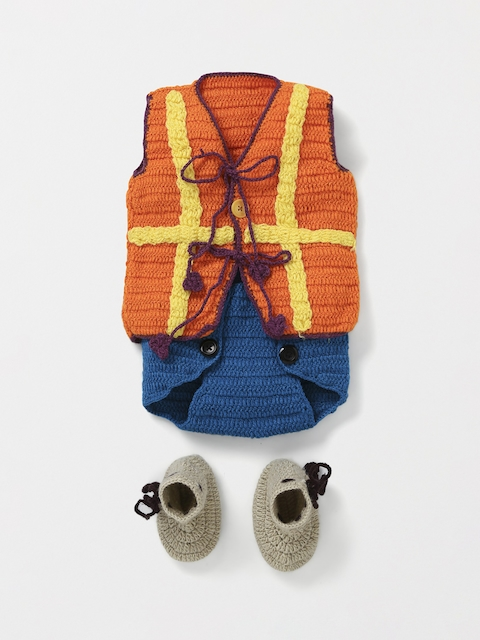 CHUTPUT Unisex Orange Colourblocked Coat with Shorts