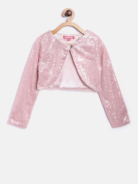 Nauti Nati Girls Pink Embellished Open Front Shrug