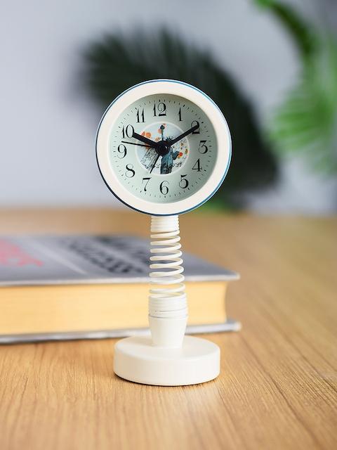Archies White Round Textured Analogue Alarm Clock 11 cm x 5 cm