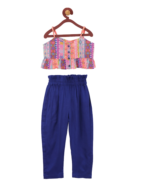 LilPicks Girls Pink & Blue Printed Top with Trousers