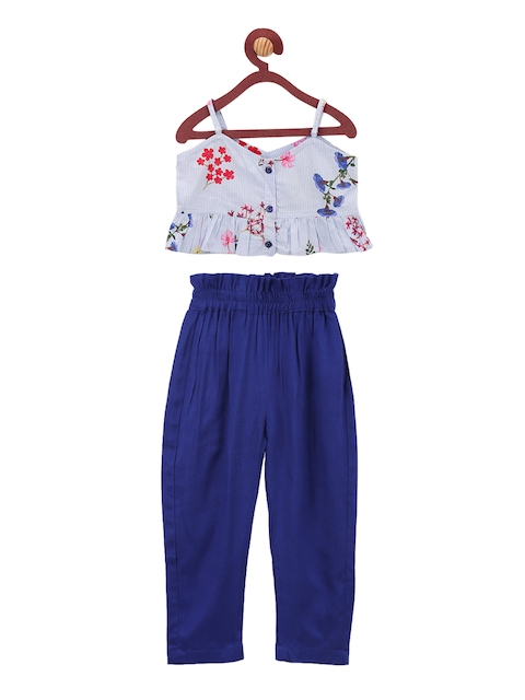 LilPicks Girls White & Blue Printed Top with Trousers