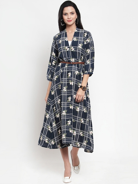 Get Glamr Women Checked Blue Fit and Flare Dress