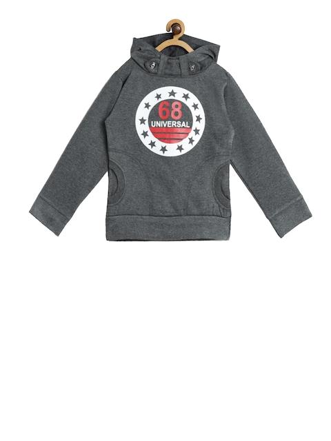 SWEET ANGEL Unisex Grey Melange Printed Hooded Sweatshirt