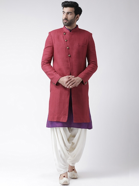 KISAH Men Maroon & Off-White Solid Bhagalpuri Silk Sherwani Patiala Set