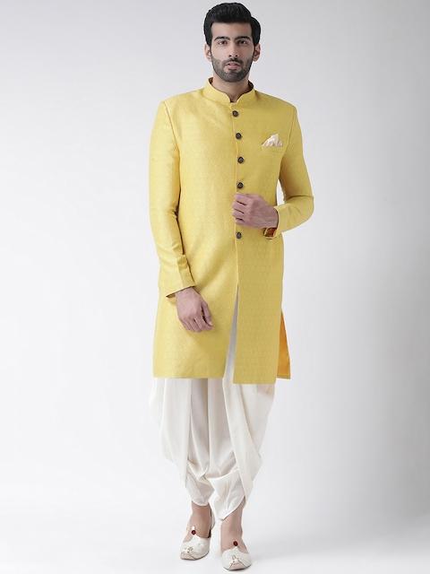 Kisah Men Yellow & White Woven Design Sherwani Set