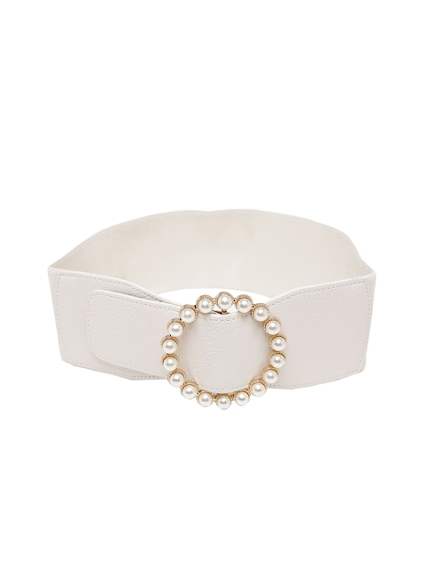 Mali Fionna Women White Solid Cinched Waist Belt
