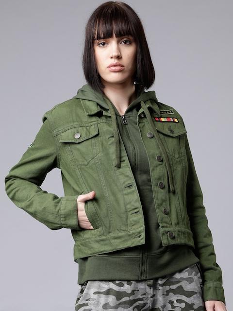 Tokyo Talkies Women Olive Green Solid Denim Jacket