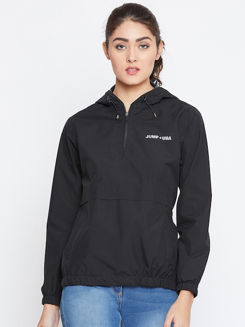 JUMP USA Women Black Solid Hooded Rain Jacket