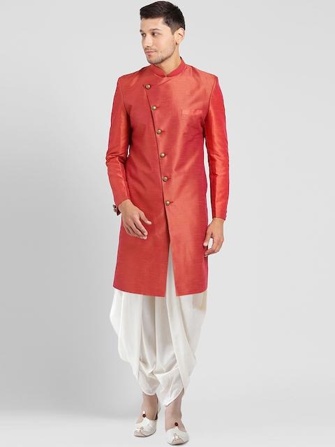 Kisah Men Coral Orange & White Solid Silk Sherwani Set