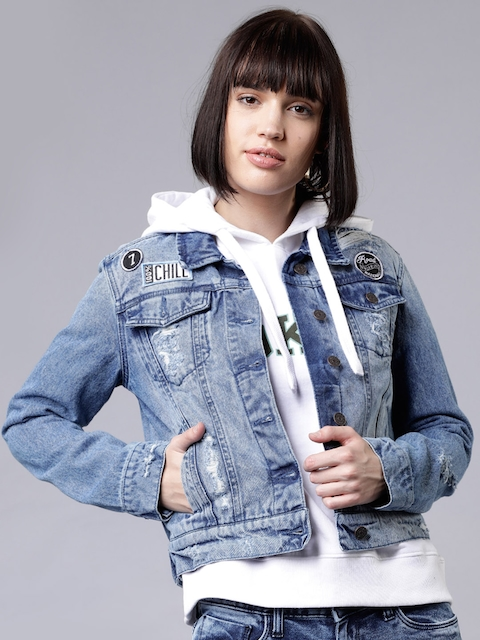 Tokyo Talkies Women Blue Solid Denim Jacket