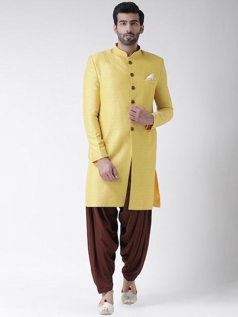 Kisah Men Yellow & Brown Jacquard Woven Design Sherwani Set