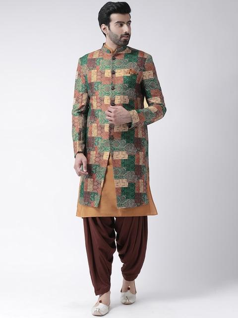 KISAH Men Green & Brown Printed Bhagalpuri Silk Sherwani With Patiala