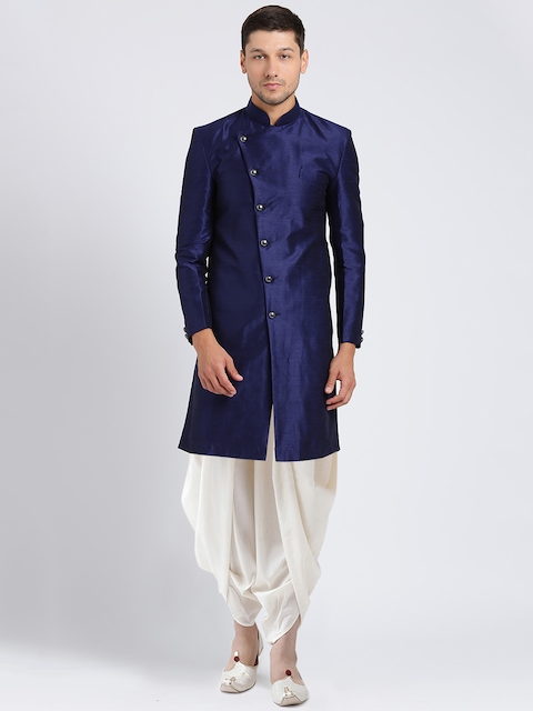 Kisah Men Navy Blue & White Solid Silk Sherwani Set