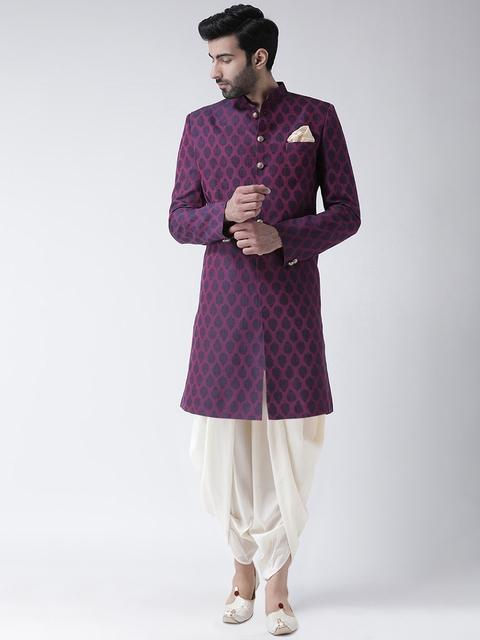 Kisah Men Purple & White Jacquard Woven Design Sherwani Set