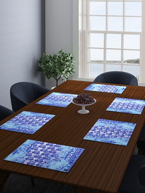 ROMEE Set of 6 Turquoise Blue Printed Table Mats