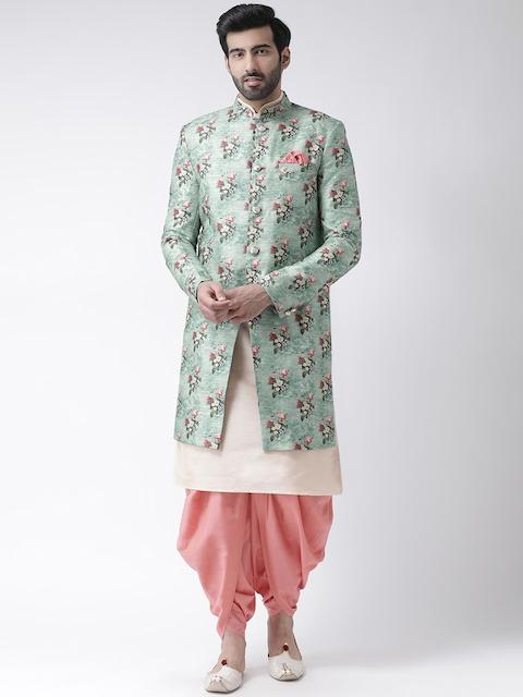 KISAH Men Sea Green & Peach Printed Bhagalpuri Silk Sherwani With Dhoti