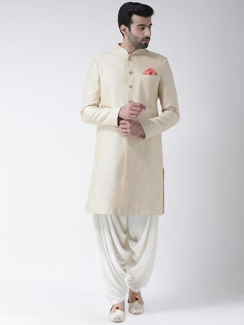 Kisah Men Cream-Coloured & White Jacquard Woven Design Sherwani Set