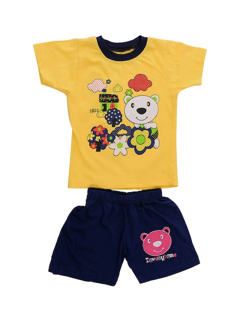 TINY HUG Unisex Yellow & Blue Printed T-shirt with Shorts