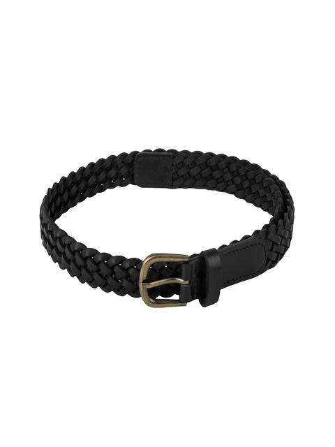 Aditi Wasan Women Black Braided Genuine Leather Belt