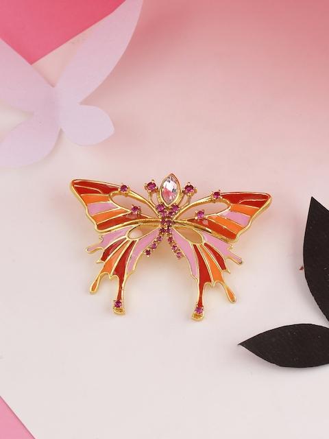 Studip Voylla Women Gold-Toned & Orange Butterfly Shaped Brooch