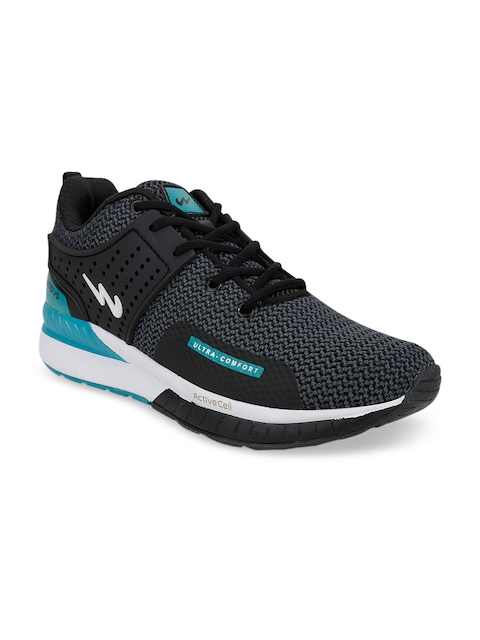 Campus Men Black & Turquoise BlueMesh Running Shoes