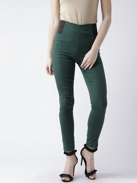 KASSUALLY Women Green Skinny Fit High Rise Solid Treggings