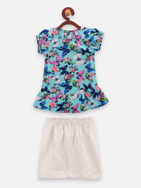 LilPicks Girls Blue & Off-White Printed Top with Skirt
