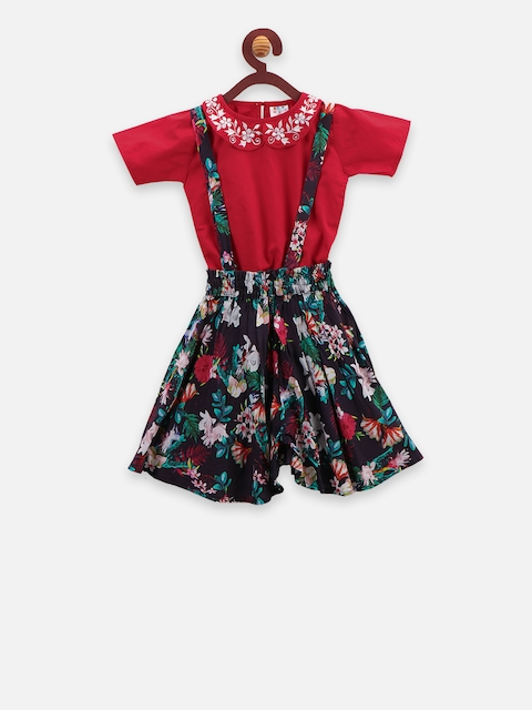 LilPicks Girls Red & Black Printed Top with attached Suspenders Shorts