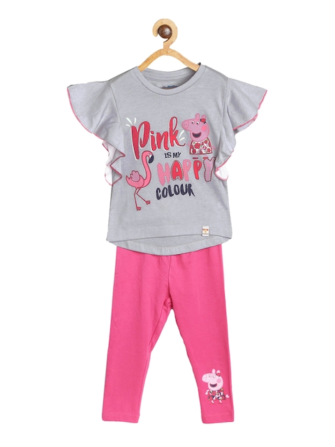Peppa Pig Girls Grey & Pink Printed Top with Leggings