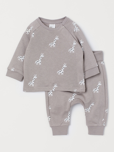 H&M Kids Grey Printed Top And Trousers