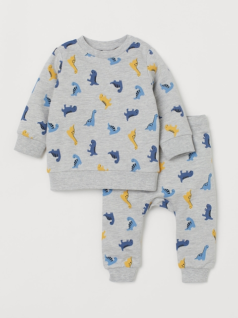 H&M Kids Grey Printed 2-Piece Cotton Set