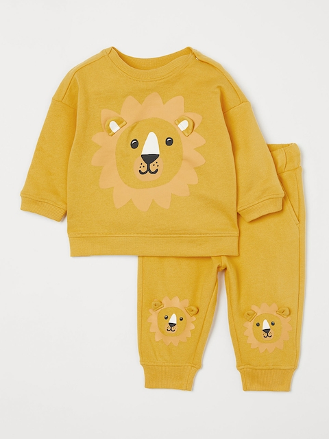 H&M Kids Mustard Yellow Printed Sweatshirt And Trousers