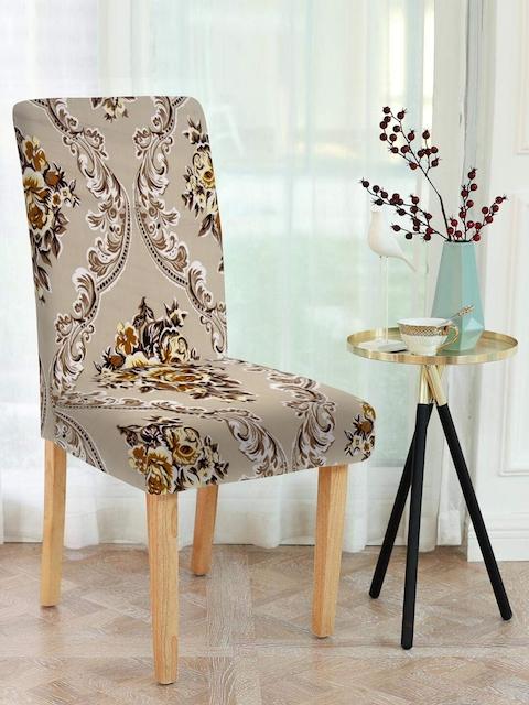 Cortina Beige & Brown 6 Pcs Floral Print Chair Cover Set