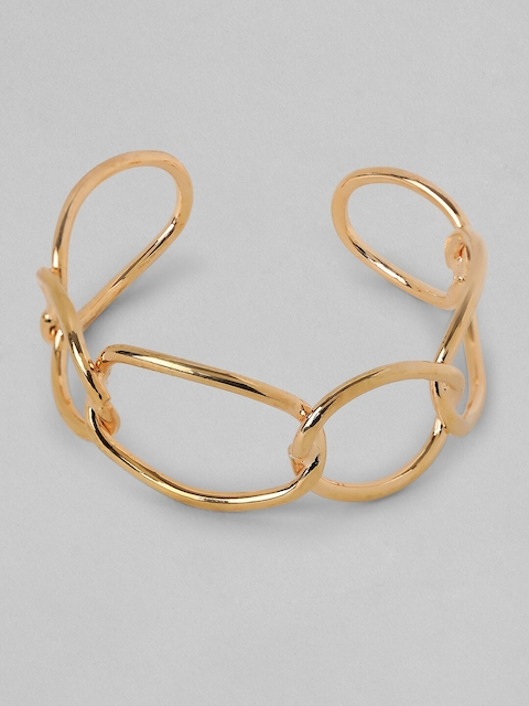 TOKYO TALKIES X rubans FASHION ACCESSORIES Women Gold-Toned Solid Cuff Openable Bracelet