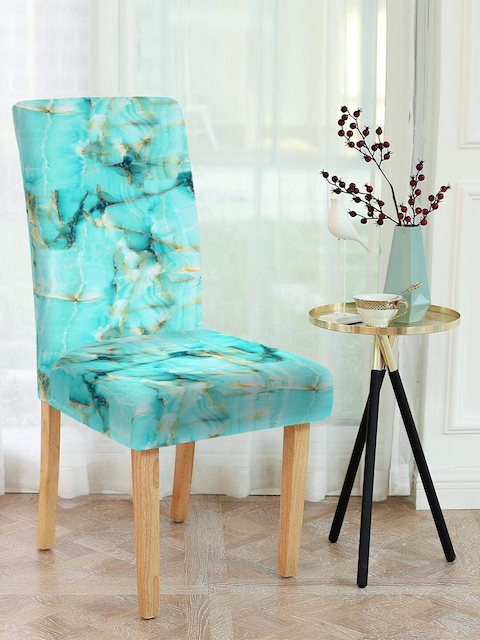 Cortina Set of 6 Turquoise Blue Printed Chair Covers