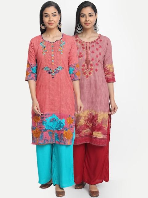 7Threads Women Multicoloured Set of 2 Yoke Design Straight Kurta, Multi