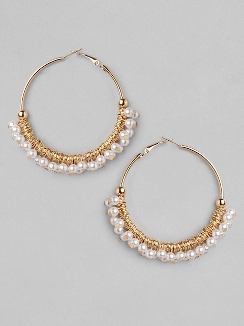 TOKYO TALKIES X rubans FASHION ACCESSORIES Gold-Toned Handcrafted Hoop Earrings