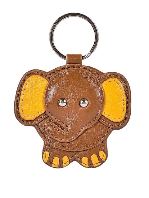 Eske Unisex Brown & Yellow Elephant Applique Perk Key Chain