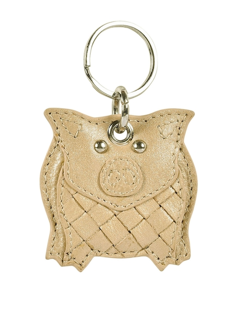 Eske Unisex Gold-Toned Woven Design Genuine Leather Ted Key Chain