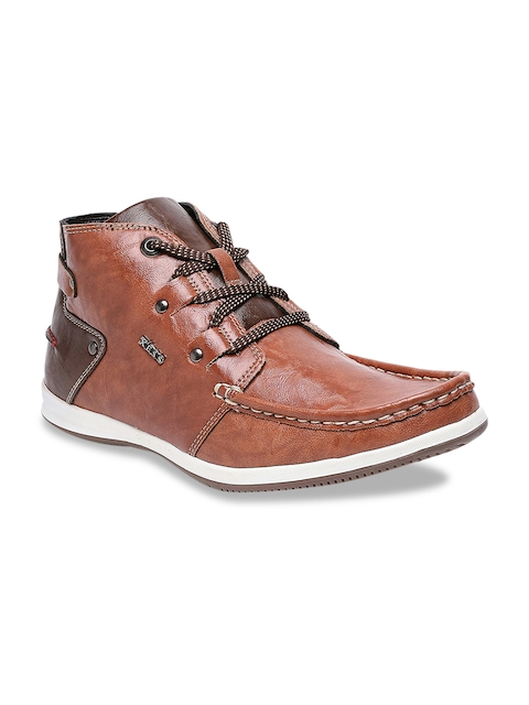 XESS by iD Men Tan Brown Solid Mid-Top Derbys