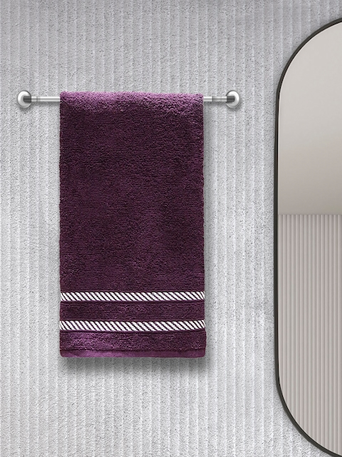 Trident Unisex Set Of 4 Purple & White Striped 380 GSM Comfort Living Black Current Hand Towels