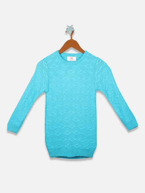 OWM Girls Turquoise Blue Self Design Pullover Sweater