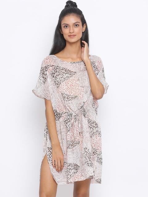 Oxolloxo Women Multicoloured Printed A-Line Beachwear Dress, Multi