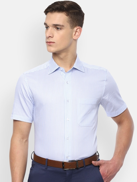 Louis Philippe Men Blue & White Striped Pure Cotton Classic Fit Formal Shirt