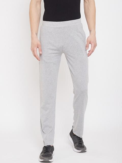 Octave Men Grey Melange & Black Striped Track Pants