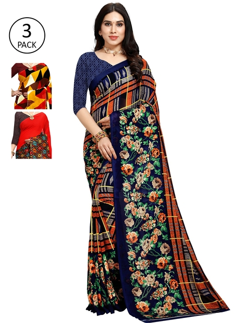 KALINI Pack Of 3 Multicoloured Poly Georgette Sarees, Multi